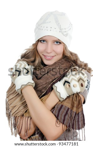 Beautiful girl in mittens isolated on  white - stock photo