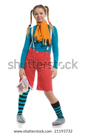 beautiful girl in multi-coloured clothes with toy isolated on white - stock photo