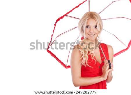 Beautiful girl in red blouse with transparent parasol, it is isolated on white background. - stock photo