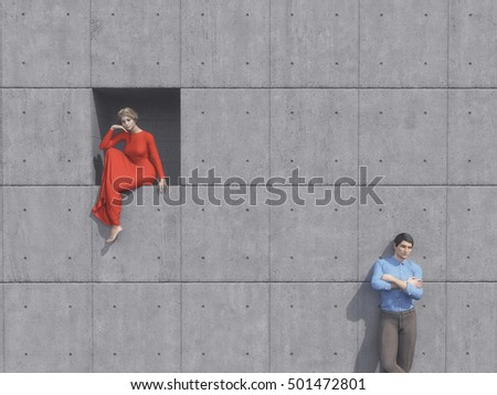 Beautiful girl in red dress sitting in place of a pavament and young man over grey wall. This is a 3d render illustration