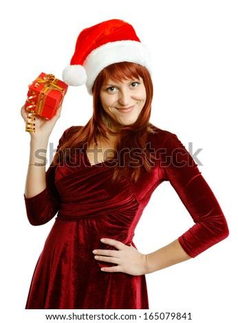 Beautiful girl in Santa hat on white background - stock photo