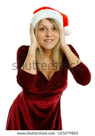 Beautiful girl in Santa hat on white background - stock photo