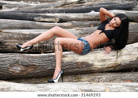 Beautiful girl in sexy clothing on logs - stock photo