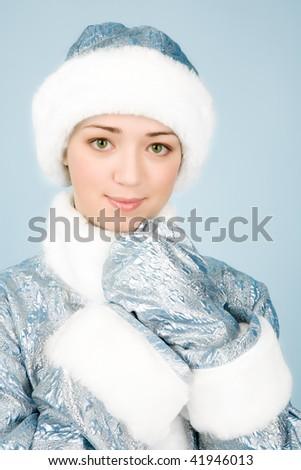 Beautiful girl in Snow Maiden costume - stock photo