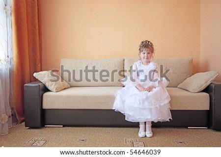 beautiful girl in sofa - stock photo