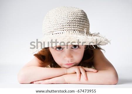 beautiful girl in straw - stock photo
