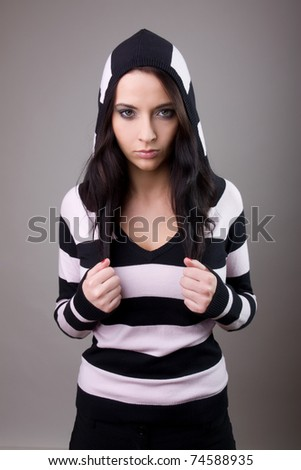 beautiful girl in stripes woolly