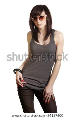 beautiful girl in sunglasses isolated - stock photo