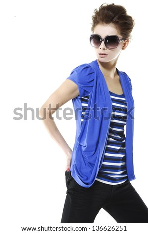 beautiful girl in sunglasses style posing at studio. - stock photo