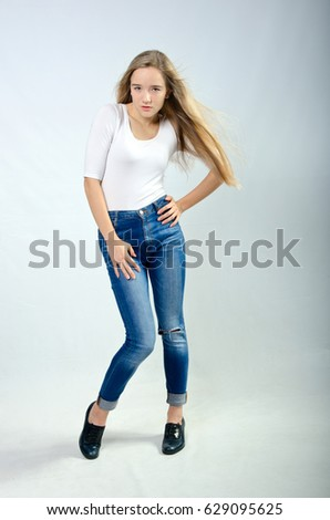 beautiful girl in t-shirt and jeans