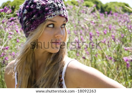 beautiful girl in the country - stock photo