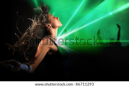 beautiful girl in the disco club - stock photo