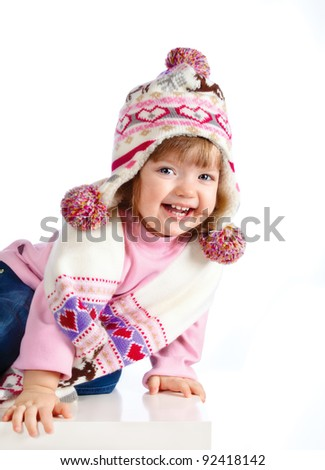 beautiful girl in the hat on a white background - stock photo