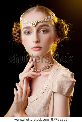 beautiful girl in the image of the princess - stock photo
