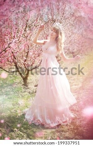 beautiful girl in the peach garden