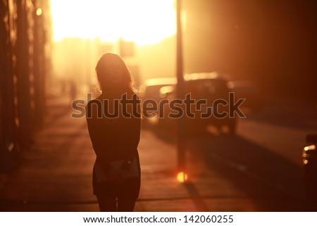 beautiful girl in the sun - stock photo