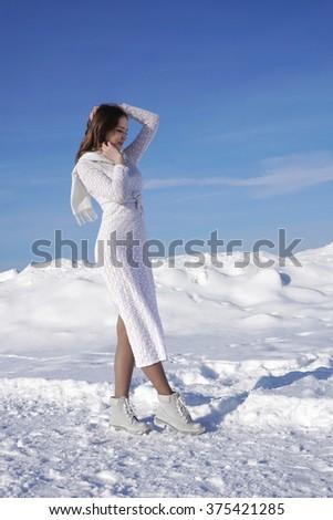 beautiful girl  in the winter - stock photo