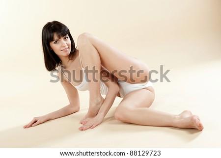 beautiful girl in underwear - stock photo