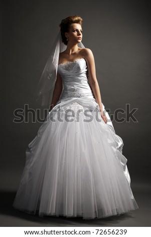 beautiful girl  in wedding dress - stock photo