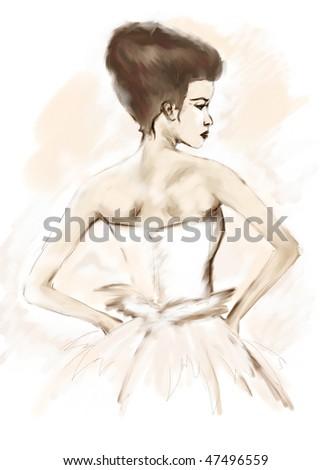 beautiful girl in white dress - stock photo