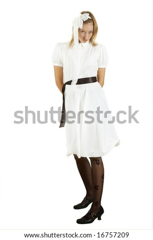 beautiful girl in white gown - stock photo