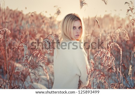 beautiful girl in winter in the high grass. Photos in golden color - stock photo