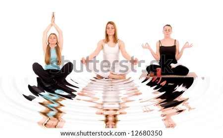 Beautiful girl in yoga pose with water reflection. - stock photo