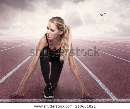 Beautiful girl is ready to run - stock photo