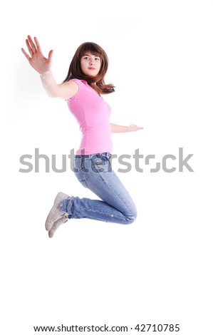 Beautiful girl jumping