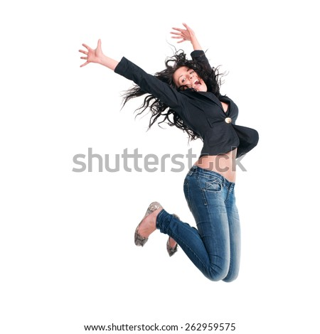 Beautiful girl jumping in the air - stock photo