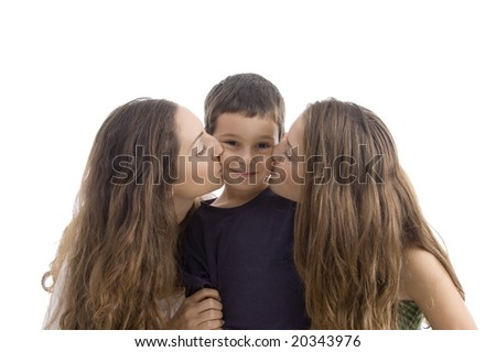 beautiful girl kissing of young little boy with white background - stock photo