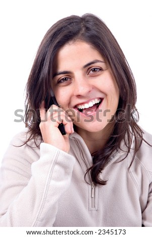 Beautiful girl laughing on the phone.