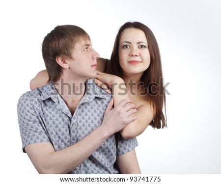 beautiful girl leaning on the shoulder guy