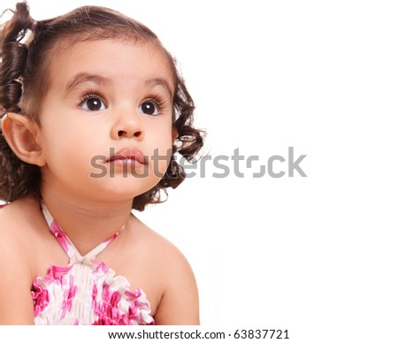 Beautiful girl looking up, space to insert text or design - stock photo