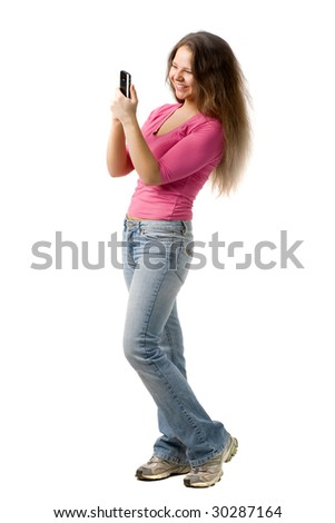 beautiful  girl looks at personal digital assistant, isolated on white - stock photo