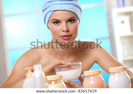 Beautiful girl loves to take care of yourself - stock photo