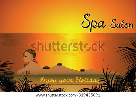Beautiful girl lying in the spa salon on the beach for sunset - stock photo