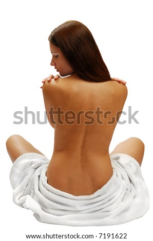 Beautiful girl model from back view with white towel, isolated on white