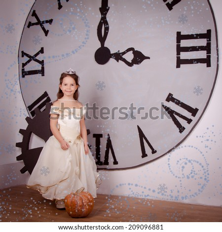 beautiful girl near a large clock in anticipation of the New Year. Tale, princess, pumpkin - stock photo