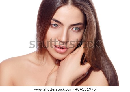 beautiful girl nude makeup. isolated - stock photo