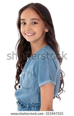 Beautiful girl of Eastern appearance with long dark hair poses in front of the camera. Closeup-Isolated on white background - stock photo