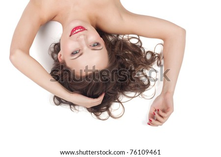 Beautiful girl on a white background, closeup portraits - stock photo