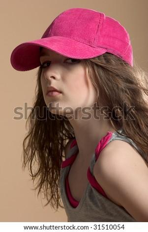 beautiful girl on cream baground - stock photo