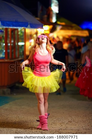 beautiful girl on music festival, youth culture - stock photo