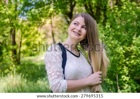 beautiful girl on nature