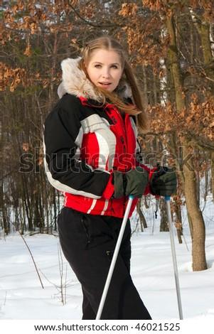 beautiful girl on skis - stock photo