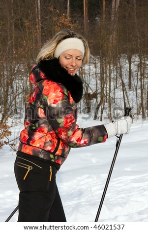 beautiful girl on skis