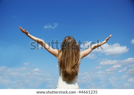 beautiful girl on sky - stock photo