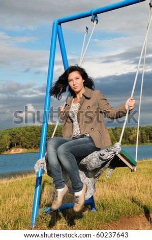 beautiful girl on swing