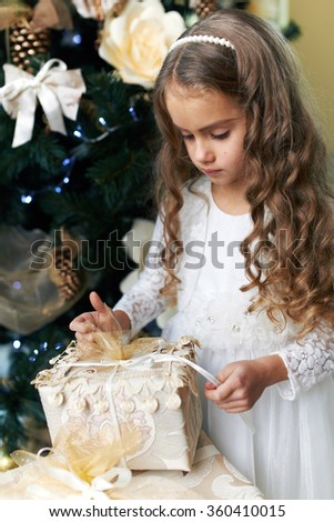 Beautiful girl opens a gift for the new year - stock photo
